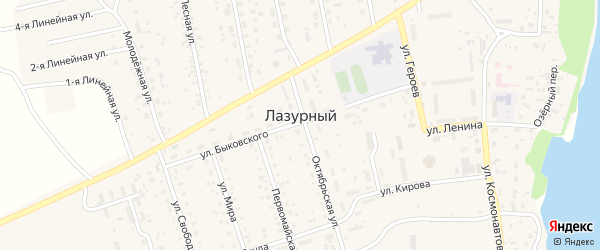 Октябрьская улица на карте Лазурного поселка с номерами домов