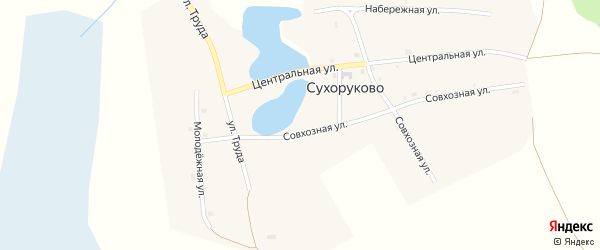 Совхозная улица на карте деревни Сухоруково с номерами домов