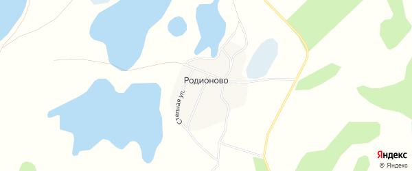 Карта деревни Родионово в Челябинской области с улицами и номерами домов