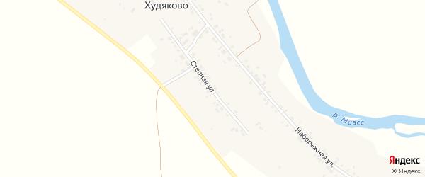 Степная улица на карте деревни Худяково с номерами домов