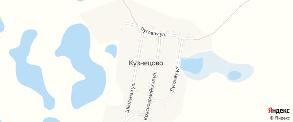 Луговая улица на карте деревни Кузнецово с номерами домов