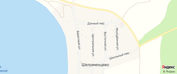 Береговая улица на карте села Шеломенцево с номерами домов