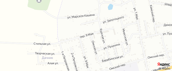 Переулок 9 Мая на карте Копейска с номерами домов