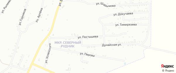 Улица Постышева на карте Копейска с номерами домов