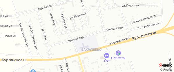 Омский переулок на карте Копейска с номерами домов