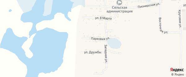 Парковая улица на карте Лугового поселка с номерами домов