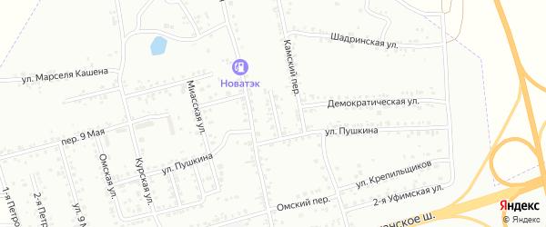 Переулок Пушкина на карте Копейска с номерами домов