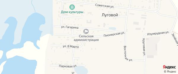 Пионерская улица на карте Лугового поселка с номерами домов