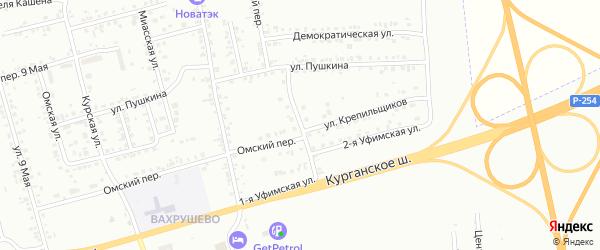 Переулок Крепильщиков на карте Копейска с номерами домов