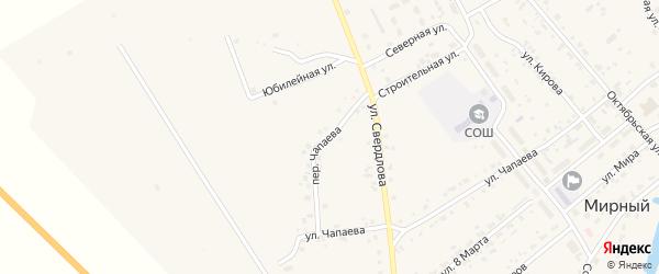 Переулок Чапаева на карте Мирного поселка с номерами домов