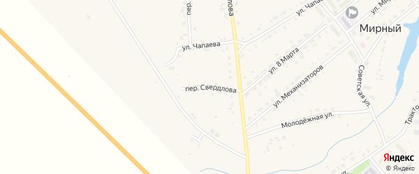 Переулок Свердлова на карте Мирного поселка с номерами домов