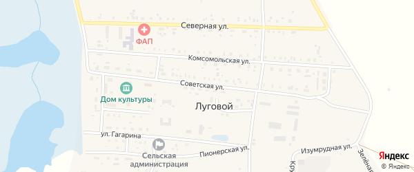 Советская улица на карте Лугового поселка с номерами домов
