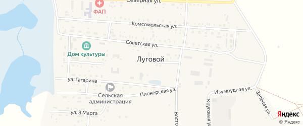 Восточная улица на карте Лугового поселка с номерами домов