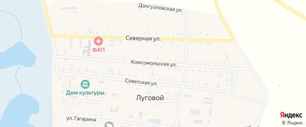 Комсомольская улица на карте Лугового поселка с номерами домов