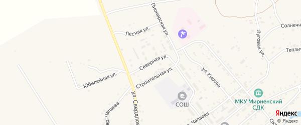 Северная улица на карте Мирного поселка с номерами домов