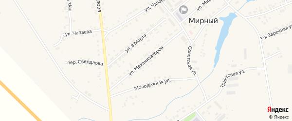 Улица Механизаторов на карте Мирного поселка с номерами домов