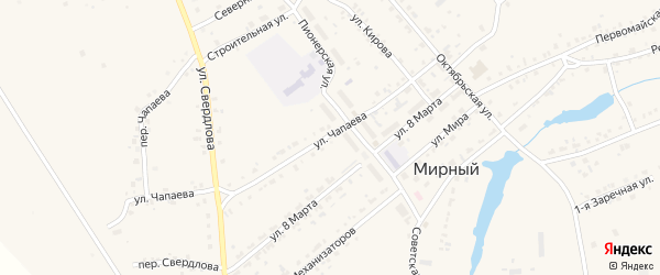 Улица Чапаева на карте Мирного поселка с номерами домов