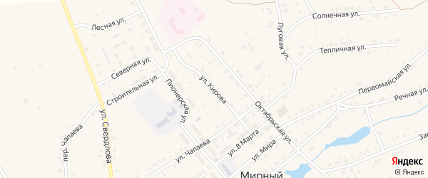 Улица Кирова на карте Мирного поселка с номерами домов