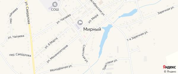 Советская улица на карте Мирного поселка с номерами домов