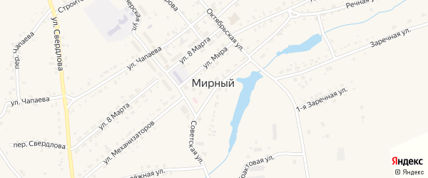 Заречная 1-я улица на карте Мирного поселка с номерами домов