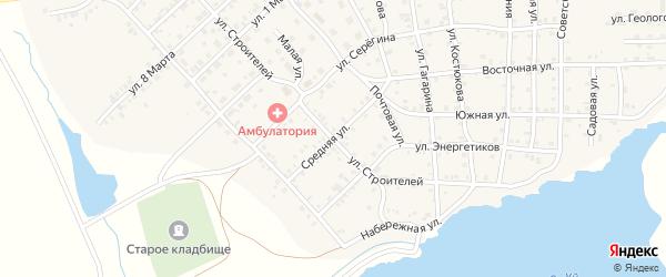 Средняя улица на карте села Бобровки с номерами домов