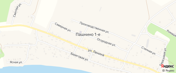 Береговая улица на карте деревни Пашнино 1-е с номерами домов