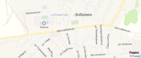 Шоссейная улица на карте села Бобровки с номерами домов