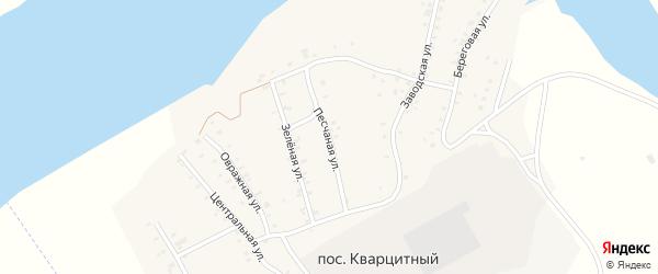 Песчаная улица на карте Кварцитного поселка с номерами домов