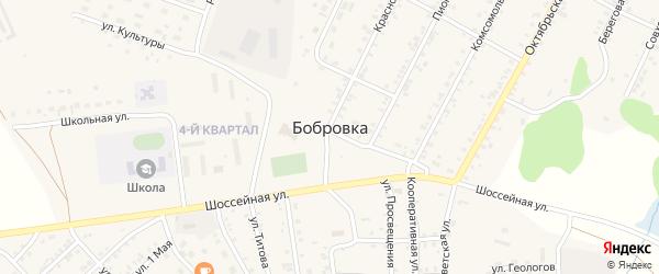 Краснопартизанская улица на карте села Бобровки с номерами домов