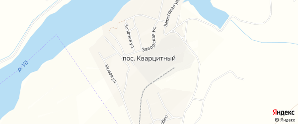 Карта Кварцитного поселка в Челябинской области с улицами и номерами домов