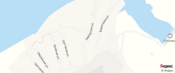 Заводская улица на карте Кварцитного поселка с номерами домов