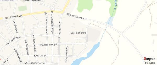 Улица Геологов на карте села Бобровки с номерами домов