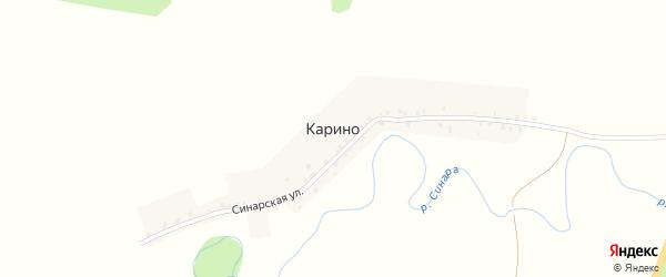 Синарская улица на карте деревни Карино с номерами домов