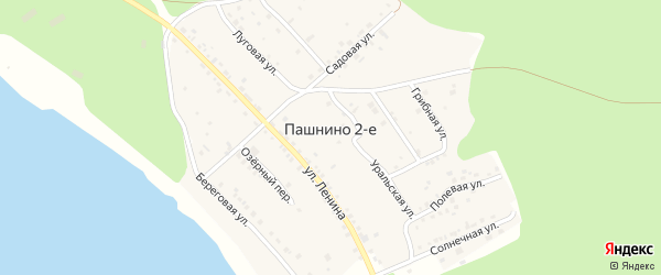 Солнечная улица на карте деревни Пашнино 2-е с номерами домов