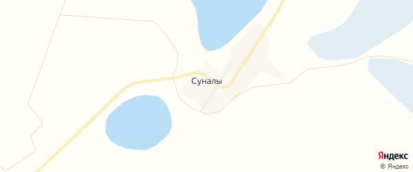 Карта поселка Суналы в Челябинской области с улицами и номерами домов