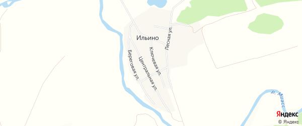 Карта деревни Ильино в Челябинской области с улицами и номерами домов