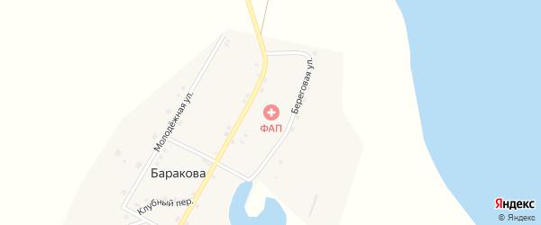 Клубный переулок на карте деревни Баракова с номерами домов