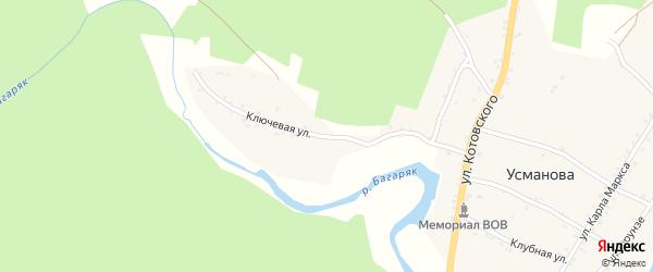 Ключевая улица на карте деревни Усманова с номерами домов