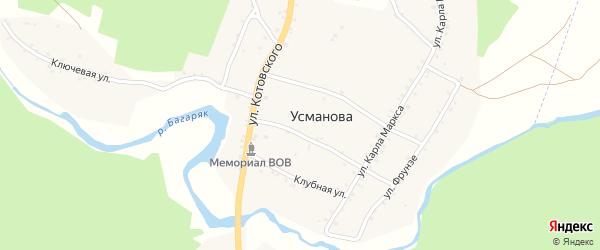 Кабанская улица на карте деревни Усманова с номерами домов