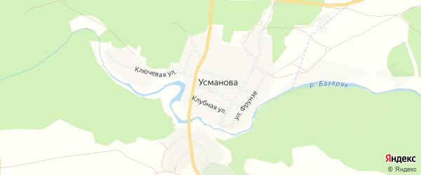 Карта деревни Усманова в Челябинской области с улицами и номерами домов
