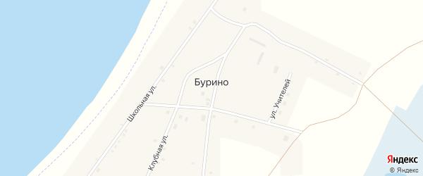 Клубная улица на карте деревни Бурино с номерами домов