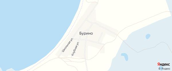 Карта деревни Бурино в Челябинской области с улицами и номерами домов