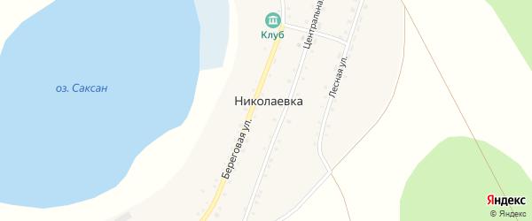 Береговая улица на карте деревни Николаевки с номерами домов