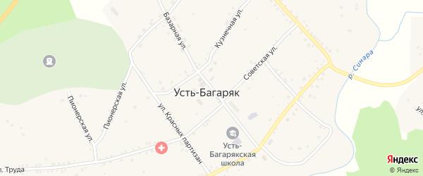 Базарная улица на карте села Усть-Багаряка с номерами домов