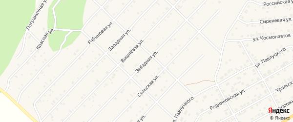 Звездная улица на карте Миасского села с номерами домов