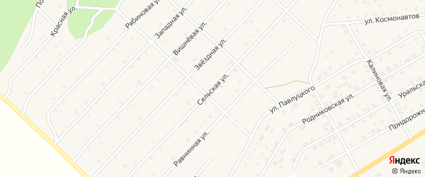 Сельская улица на карте Миасского села с номерами домов