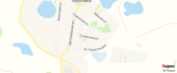 Солнечная улица на карте деревни Фроловки с номерами домов
