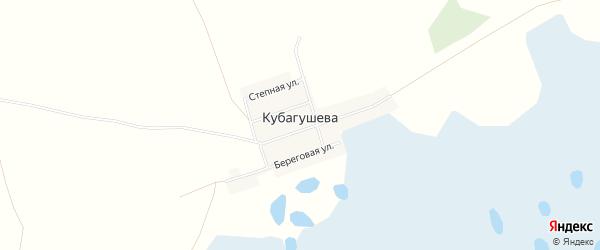 Карта деревни Кубагушева в Челябинской области с улицами и номерами домов