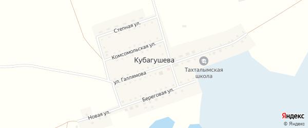 Береговая улица на карте деревни Кубагушева с номерами домов