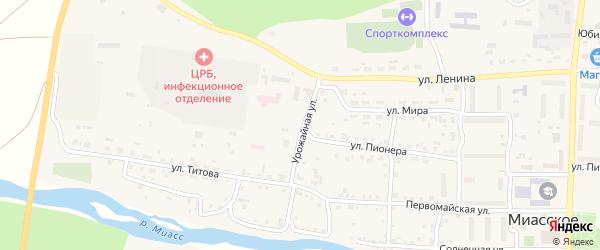 Урожайная улица на карте Миасского села с номерами домов
